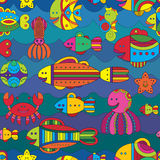 Seamless pattern with stylize fishes Stock Photography