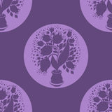 Seamless pattern with stylize silhouettes of tulips Royalty Free Stock Photo