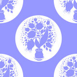 Seamless pattern with stylize silhouettes of tulips in a pot Stock Image