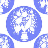 Seamless pattern with stylize silhouettes of tulips in a pot Royalty Free Stock Photos