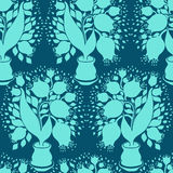 Seamless pattern with stylize silhouettes of tulips Royalty Free Stock Photography