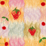 Seamless pattern with stylized berries of cherry and strawberry Stock Photo