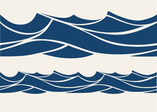Seamless pattern with stylized blue waves Royalty Free Stock Images