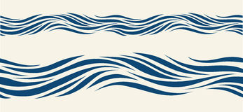 Seamless pattern with stylized blue waves Stock Photos
