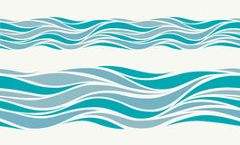 Seamless pattern with stylized blue waves Stock Photography