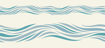 Seamless pattern with stylized blue waves Royalty Free Stock Photo