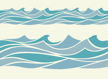 Seamless pattern with stylized blue waves Royalty Free Stock Image