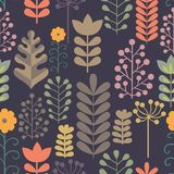 Seamless pattern with stylized branches. Collection of plant elements for design Stock Photos