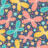 Seamless pattern with stylized butterflies. Royalty Free Stock Photography