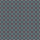 Seamless pattern with stylized celtic geometric ornament in living coral, blue and mint colors, vector royalty free illustration