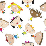 Seamless pattern with stylized children Royalty Free Stock Image