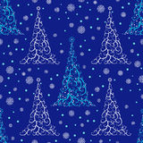 Seamless pattern with stylized Christmas tree and snowflakes. Stock Photos