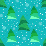 Seamless pattern with stylized Christmas tree and snowflakes. Stock Photography