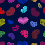 Seamless Pattern with Stylized colorful hand-drawn Scribble Hear Stock Photo