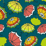 Seamless pattern with stylized colorful umbrellas Royalty Free Stock Photo