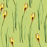 Seamless pattern with stylized Crocus flowers Stock Photos