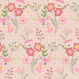 Seamless pattern with stylized cute flowers. Endless texture for your design, greeting cards, announcements, posters Stock Photos