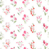 Seamless pattern with stylized cute flowers - roses, tulips and snowdrops. Stock Images