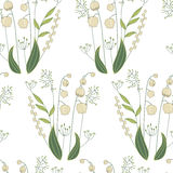 Seamless pattern with stylized cute lilies of the vallew. Stock Images