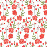 Seamless pattern with stylized cute red roses. Stock Image