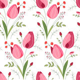 Seamless pattern with stylized cute red tulips. Endless texture for your design, greeting cards, announcements, posters Stock Images