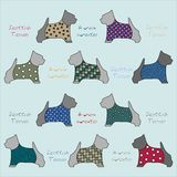 Seamless pattern of stylized dog breeds scotch terrier dressed in a sweater. stock illustration