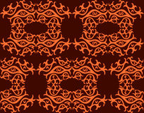 Seamless pattern with stylized eyes. Orange eyes on a brown background. Stock Photos