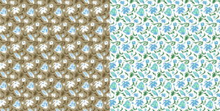 Seamless pattern. Stylized flowers and butterflies. Vector abstract background. Two variants. Royalty Free Stock Photography