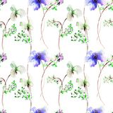 Seamless pattern with stylized flowers. Watercolor illustration Stock Photography