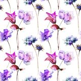 Seamless pattern with Stylized flowers. Watercolor illustration Royalty Free Stock Image