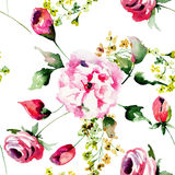 Seamless pattern with Stylized flowers Royalty Free Stock Image