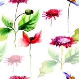Seamless pattern with stylized flowers Stock Photo