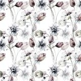 Seamless pattern with Stylized flowers. Watercolor illustration Royalty Free Stock Photography
