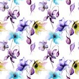 Seamless pattern with Stylized flowers Royalty Free Stock Photography