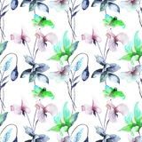 Seamless pattern with Stylized flowers. Watercolor illustration Stock Images
