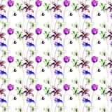 Seamless pattern with Stylized flowers. Watercolor illustration Royalty Free Stock Photos
