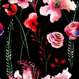 Seamless pattern with Stylized flowers royalty free illustration