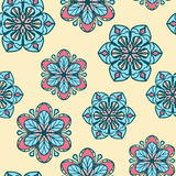 Seamless pattern with stylized flowers on yellow background Royalty Free Stock Images