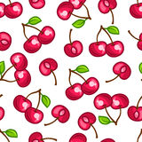 Seamless pattern with stylized fresh ripe cherries Royalty Free Stock Photography