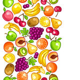 Seamless pattern with stylized fresh ripe fruits Stock Photography