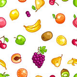 Seamless pattern with stylized fresh ripe fruits Royalty Free Stock Images