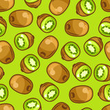 Seamless pattern with stylized fresh ripe kiwi Stock Image
