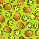 Seamless pattern with stylized fresh ripe kiwi.  Stock Image