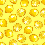 Seamless pattern with stylized fresh ripe lemons Stock Image