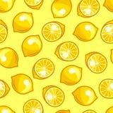 Seamless pattern with stylized fresh ripe lemons Stock Image