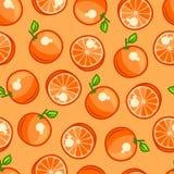 Seamless pattern with stylized fresh ripe oranges Royalty Free Stock Photo