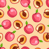 Seamless pattern with stylized fresh ripe peaches Stock Image
