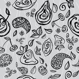 Seamless pattern with stylized fruits. Royalty Free Stock Photos