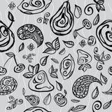 Seamless pattern with stylized fruits. Seamless pattern with stylized fruits and doodls Vector Illustration