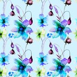 Seamless pattern with Stylized Gerber flowers. Watercolor illustration Stock Image